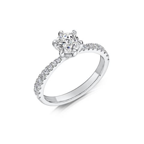 0.53 Carat GIA GVS Diamond solitaire 18ct White Gold. Round twist Engagement Ring MWSS-1211/033